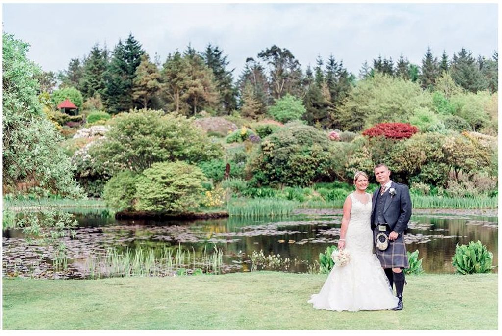 Wedding Bride and GRoom by the Loch at Glenwhan Gardens