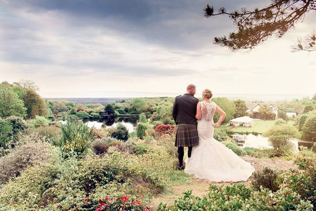 Wedding Bride and Groom with a View at Glenwhan Gardens