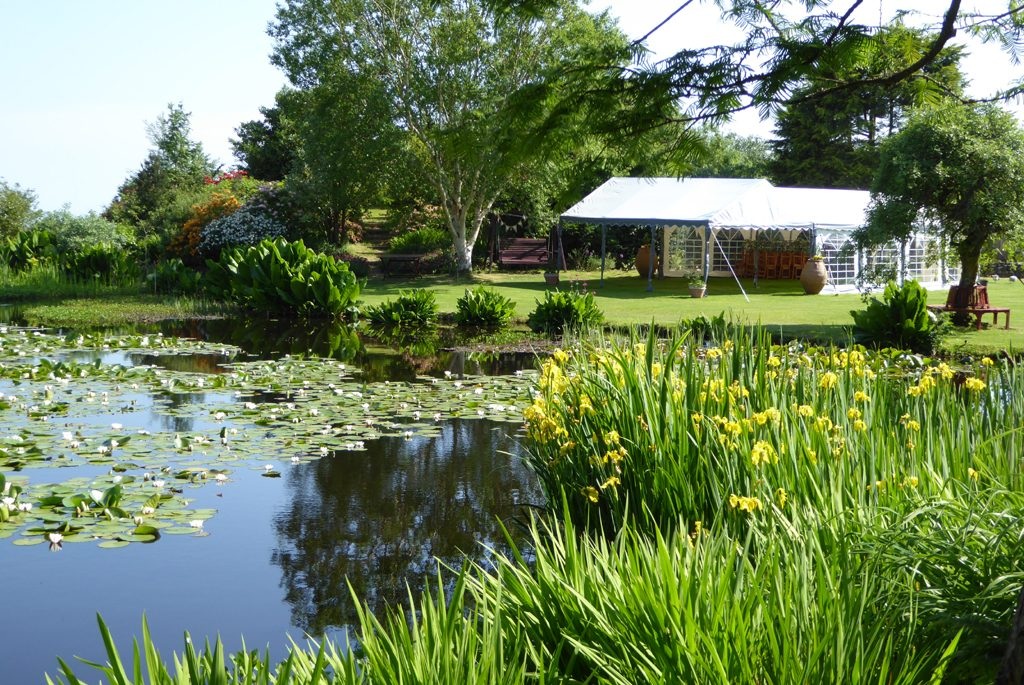 View acroos the lawn to wedding marquee at Glenwhan Gardens