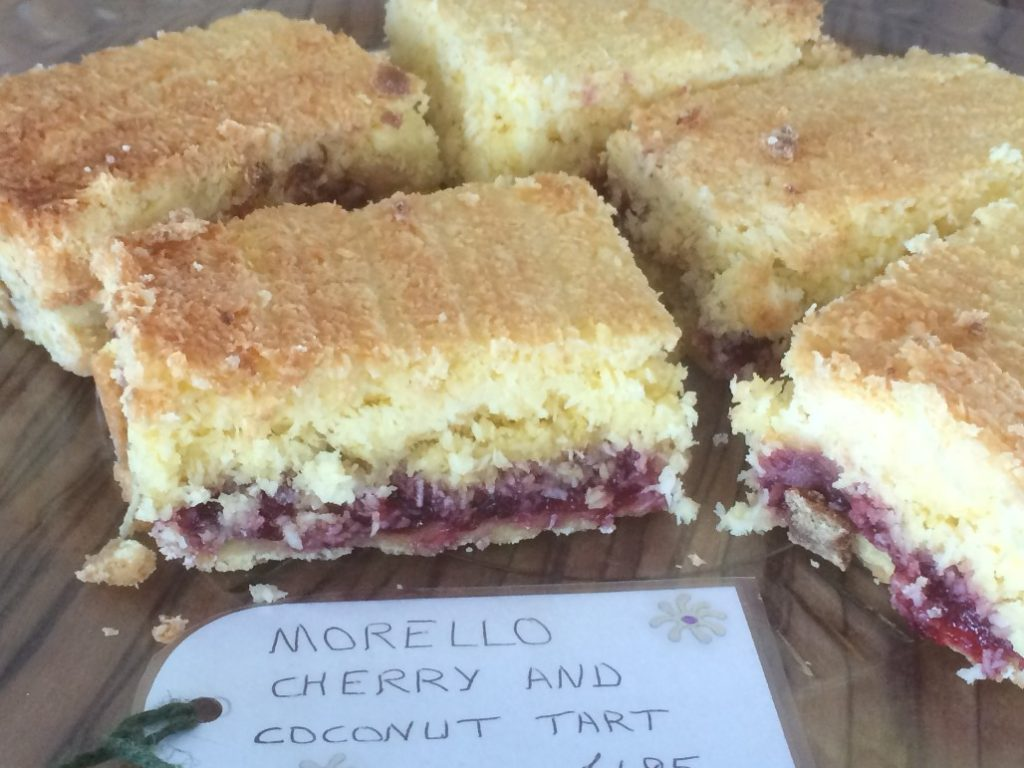 Home-made Morello Cherry and Coconut Tart